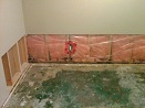 Wet Drywall removed in flood basement