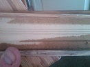 Wet MDF baseboard from flood